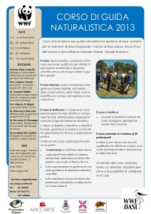 Locandina Corso Guida Naturalistica 2013